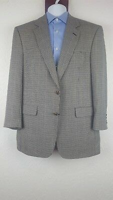 Jos A Bank 41 40 R Sport Jacket Houndstooth Glend Plaid Wool Silk 2 Button Front