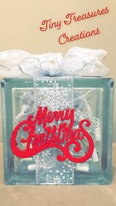 Christmas decor glass block