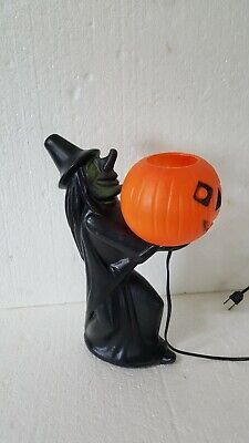 Rare Vintage Halloween Blow Mold Witch Holding Pumpkin