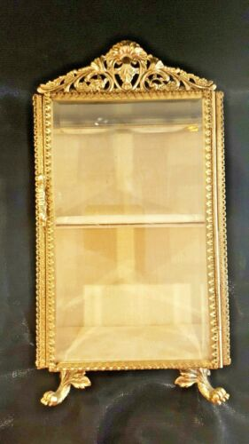VTG Standup 2 shelf Casket Gold Plated Beveled Glass Vitrine Jewelry Trinket Box