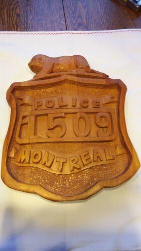 Vintage montreal police wood carving folk art sculpture signed