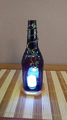 Handmade Decorative Green Glass Bottle With Electronic Candle and Gecko Design