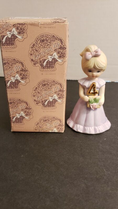 Vintage Enesco Growing Up Birthday Girls Blonde Porcelain Figurine, Age 4
