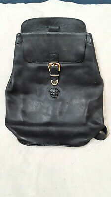 VINTAGE 80'S - 90'S GIANNI VERSACE MEDUSA ALL LEATHER BACKPACK SINGLE STRAP BAG