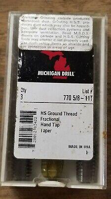 Michigan Drill 770 Set 58-11t Hs Taper Plug Bottoming 3 Pc Set
