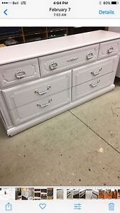 WHITE 7 DRAWER DOUBLE DRESSER