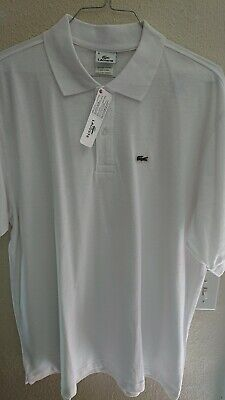 New $72 Lacoste Mens Polo Shirt Size 8 XL White w/ Green Alligator