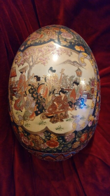Rare Very Large Authentic Japanese Satsuma Collectible Porcelain Egg 2 FOOT TALL