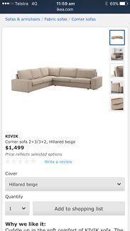 REDUCED PRICE - Corner sofa with Footstool - Ikea Kivik.