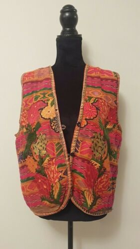 Vintage Hand woven vest made in Guatemala 100% cotton multicolored