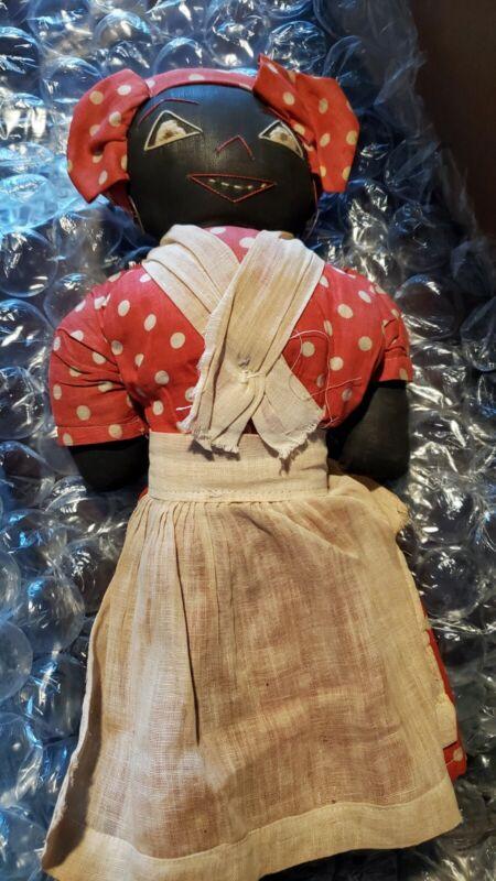 "Vintage Americana Handmade Folk Art Black 13"" Rag Doll"