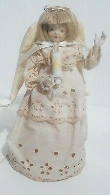 Vintage Kurt Adler Light Up Angel Tree Topper Porcelain Head Arms Eyelet Dress