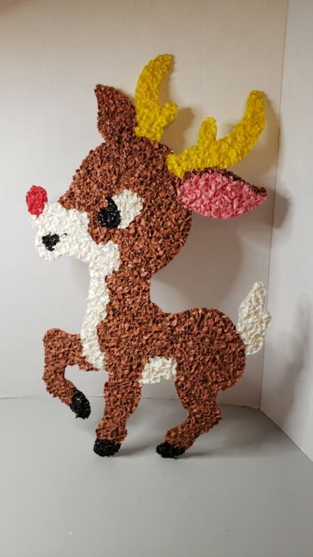 "VTG Melted Plastic Popcorn Christmas Decoration REINDEER 19"" TALL DEER RUDOLPH"