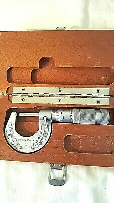 Brown Sharpe 1 0-1 Outside Micrometer.0001 Increments Original Wood Box