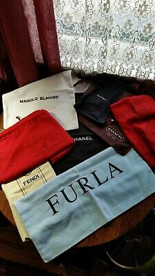 CHANEL, FURLA, GUCCI, BLAHNIK + VINTAGE LOT OF 8 DUST BAGS Handbags Shoes, etc