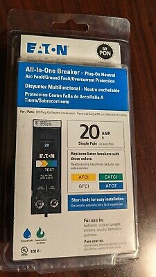 Eaton All-in-one Circuit Breaker Br Arc Fault Ground Fault Plug On 20 Amp 1 Pole