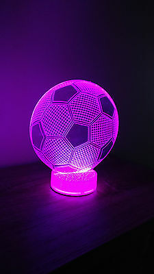Soccer Ball 3D Illusion Night 7 Color Change Table Desk Lamp Led Light