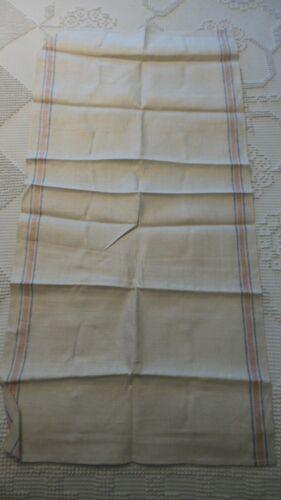 Antique Linen Kitchen TOWEL, Pinkish-Red & Blue Stripe Sides
