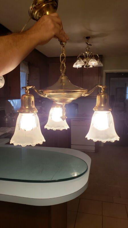 Antique Vtg Art Deco Brass Ceiling Fixture Chandelier Pan Light 3 Arm