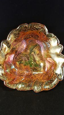 Carnival Glass Amber nut/candy dish