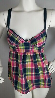 HOLISTER Girl's Youth Top Small Plaid Pink Yellow Blue Halter Tunic Sleeveless Girls Yellow Top