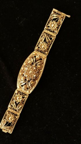 ANTIQUE GREEK IOANNINA TRADITIONAL COSTUME JEWELRY FILIGREE GOLD SILVER BRACELET