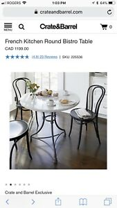 Crate&Barrel Marble French Round Bistro Table