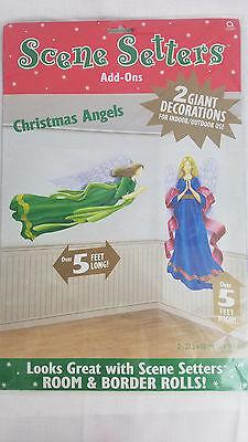 Christmas Angels Scene Setter Wall Decoration Kit Holy Manger Nativity 5 feet - Nativity Scene Setters