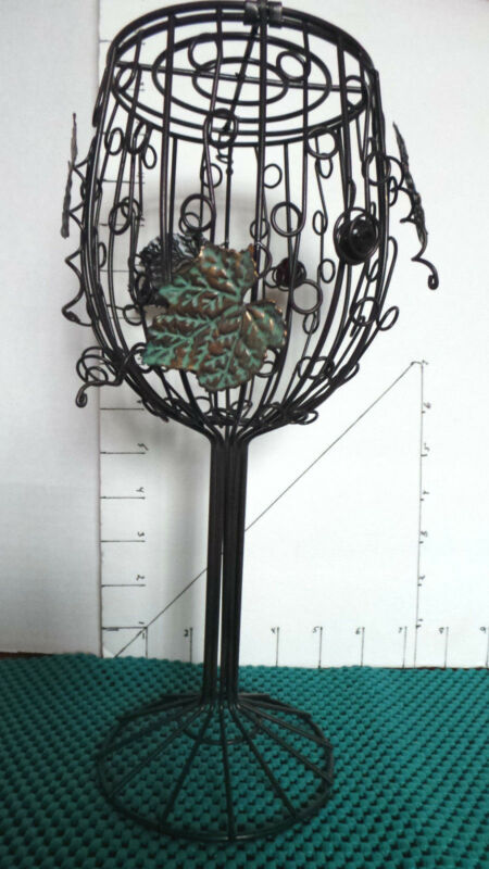 Wine Cork Art Cage Or Candle Holder, Wine Glass Shape, Wrought Iron, 11""
