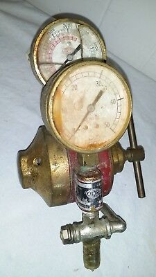 Vtg Brass Airco 9062 Pressure Regulator Cracked Gauge Faces - Steampunk