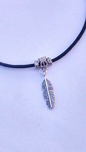 Black waxed cord Lucky Feather Leaf *hippy* surfer necklace / choker adjustable