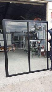 Sliding DOOR 2100h x 1810w BLACK ALUMINUM GLASS **NEW**