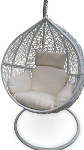 Outdoor Hanging Ball Chair - White Basket with White Cushions Tullamarine Hume Area Preview