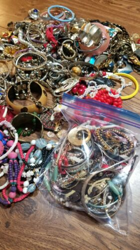 Craft Junk Jewelry Lot, Some Broken & Some Wearable Pieces - 15oz