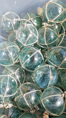 "Japanese Glass Fishing FLOATS 2"" LOT-5 Round NETTED Buoy Balls Authentic Vintage"