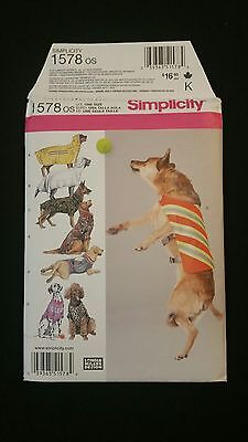 Simplicity 1578 Dog Clothes Sewing Pattern Coat Raincoat Large Pet New Uncut