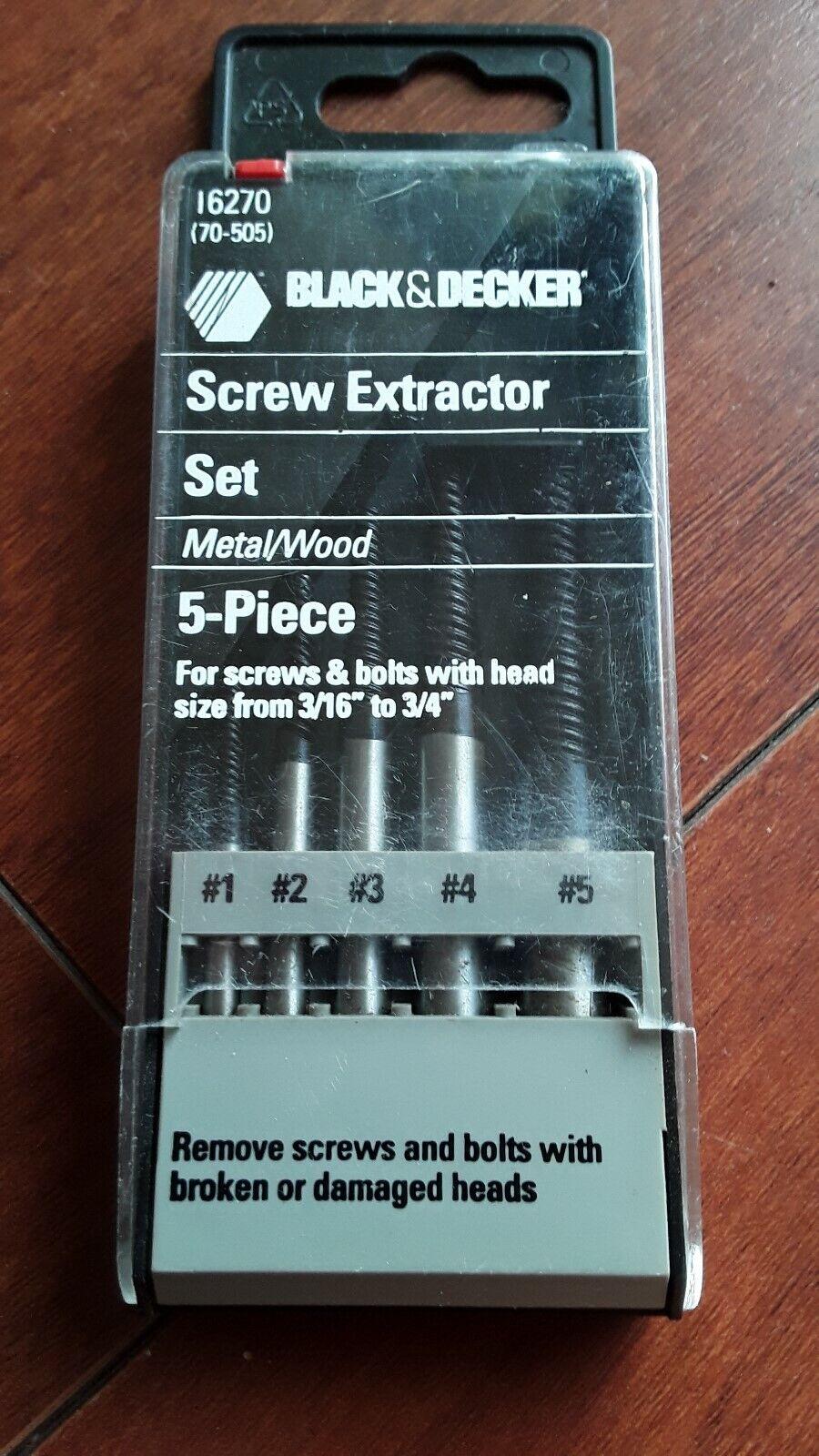 BLACK & DECKER 5 PC. METAL WOOD SCREW EXTRACTOR SET 16270. N