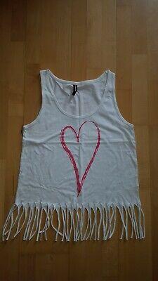 Neu ~ Sommer Top Shirt Gr. M - L ~ Fransen ~ Strand ~ Love ~ Herz ~ crazy world - Fransen Herz