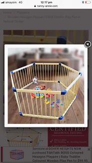 Quality wooden playpen hexagonal