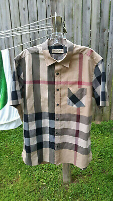 MENS BURBERRY SOMERTON CHECK COTTON SHORT SLEEVE SPORT BUTTON DOWN SHIRT SZ L