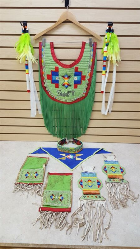 NICE 13 PIECE HAND CRAFTED BOYS BEADED NATIVE AMERICAN INDIAN FANCY DANCE OUTFIT