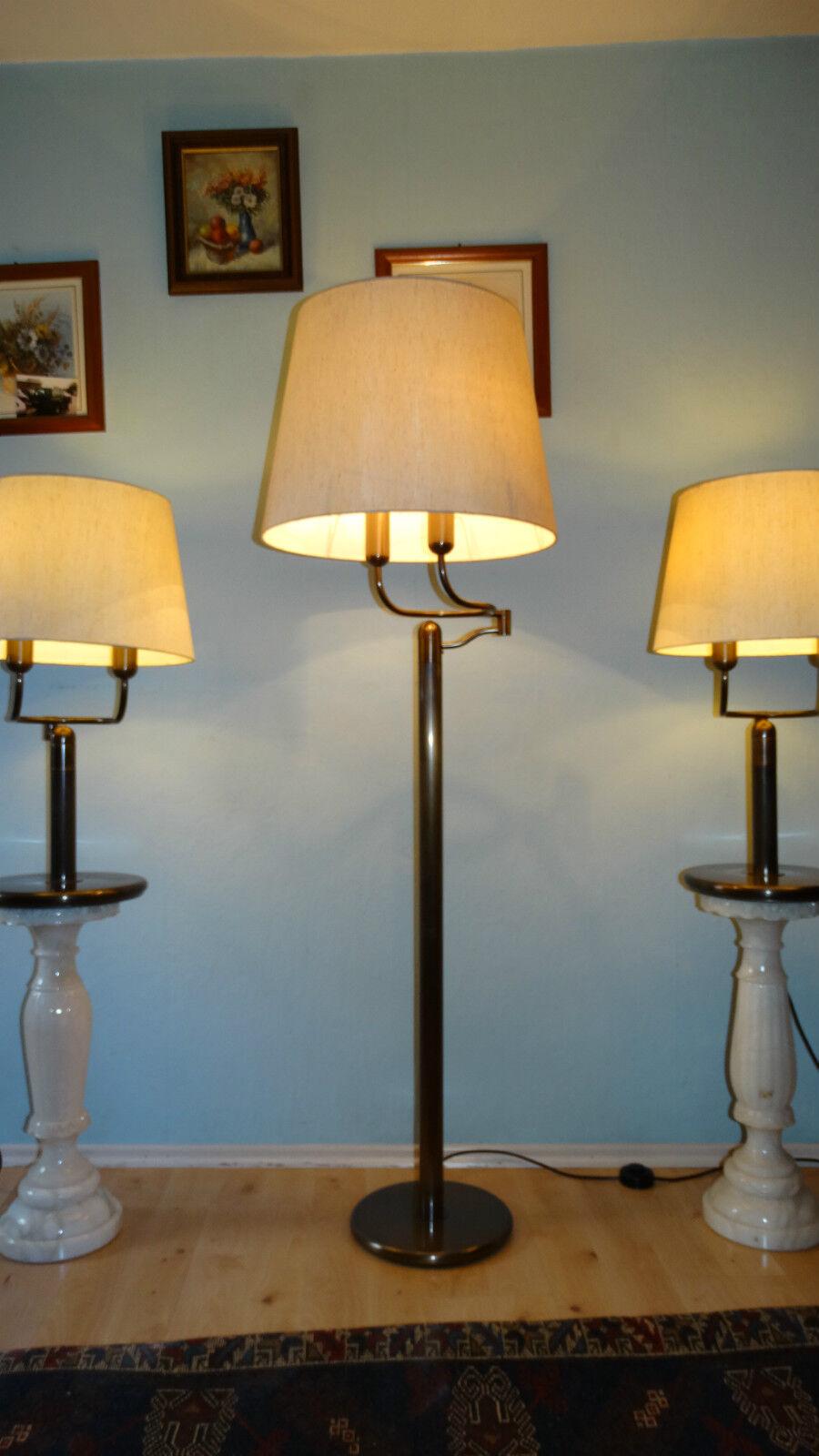 messing lampen set stehlampe 2x tischlampen sideboard. Black Bedroom Furniture Sets. Home Design Ideas