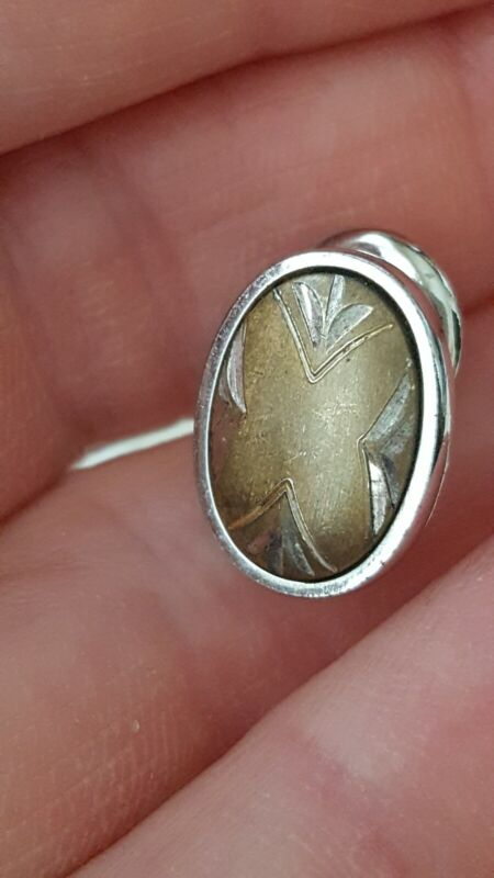 Vintage mens oval silver tone tie tack mens jewelry