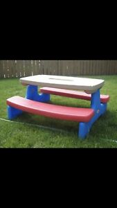 Childs fold up picnic table, chaulk board and small lawn chairs