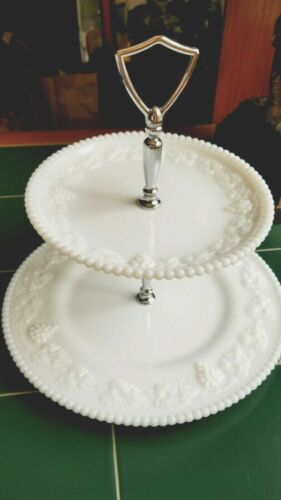 Westmoreland Milk Glass Paneled Grape 2 Tier  Serving Tray Beaded Edge Vintage!