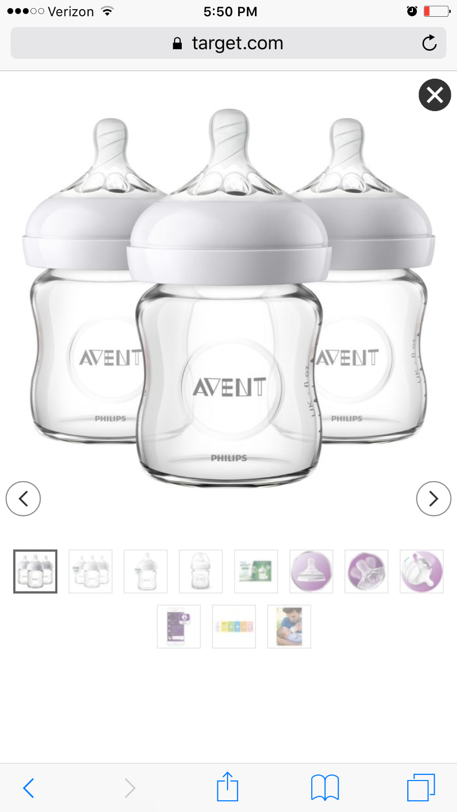 Philips AVENT Natural 4 Ounce Glass Bottle 3 Pack