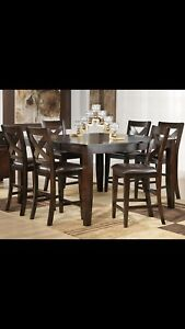 Bar style dining table and chairs