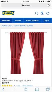 Red Ikea curtains brand new