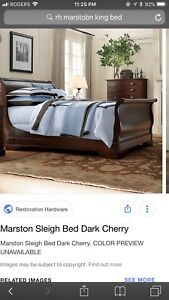 Restoration Hardware Sleigh Bed (King) with mattress and box