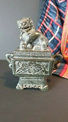 Feng Shui Chinese Black Stone Foo / Fu Dog Temple Lion Container  …beautiful col